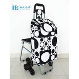 普通带椅爬楼购物车 -XDZ02-3X(黑拼不规则黑白大圆点)