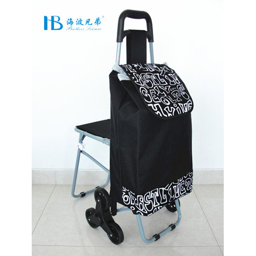 普通带椅爬楼购物车-XDZ02-3X(黑拼色丁织绒空心字)