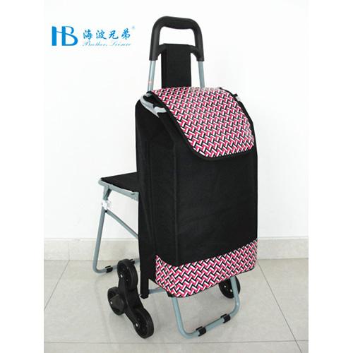普通带椅爬楼购物车-XDZ02-3X(黑拼PU红中国结)
