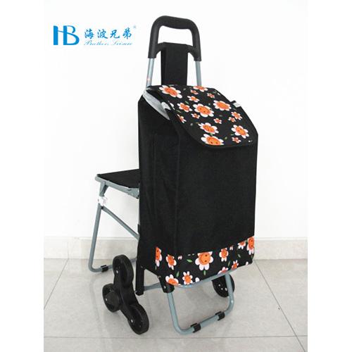 普通带椅爬楼购物车-XDZ02-3X(黑拼600D黑色笑脸太阳花)