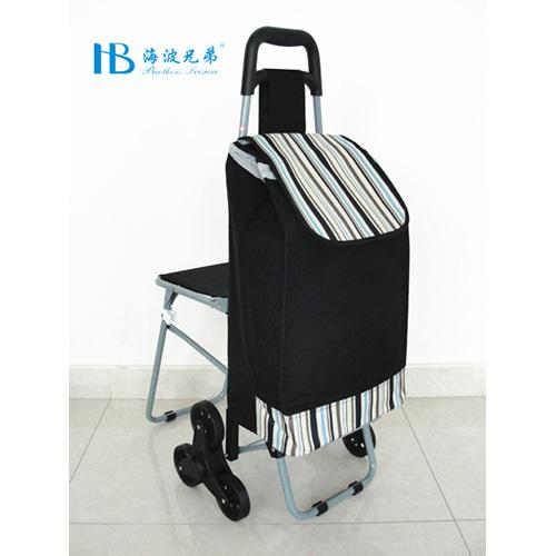 普通带椅爬楼购物车-XDZ02-3X(黑拼花瑶兰条纹)