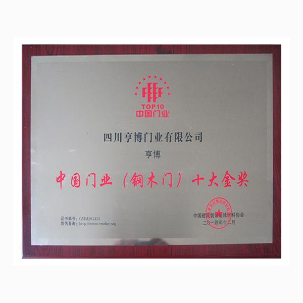 中國門業(鋼木門)十大金獎