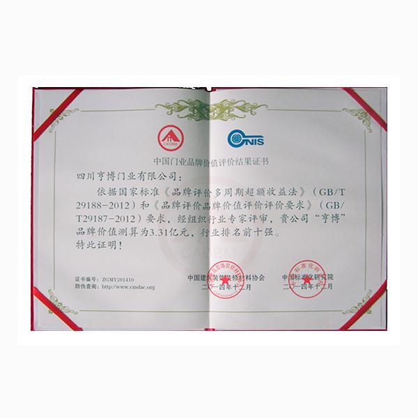 中國門業品牌價值評價結果證書