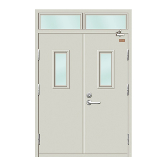 平板双开带玻璃带亮防火门-HMH-A701