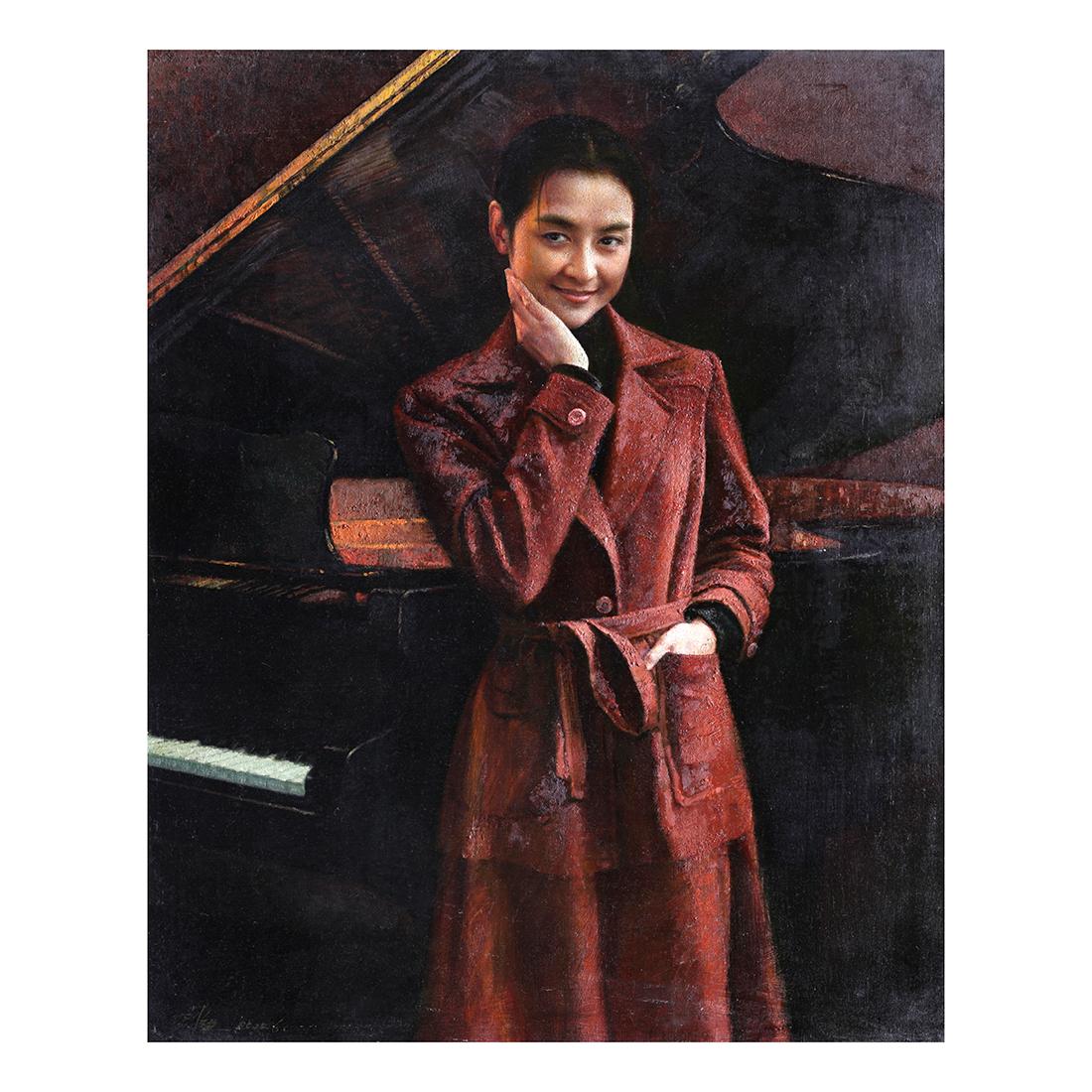 钢琴旁的少女-2000年海姑娘 1995年作  100x81cm