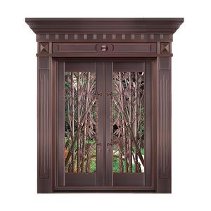 节节高升铜艺对开玻璃门