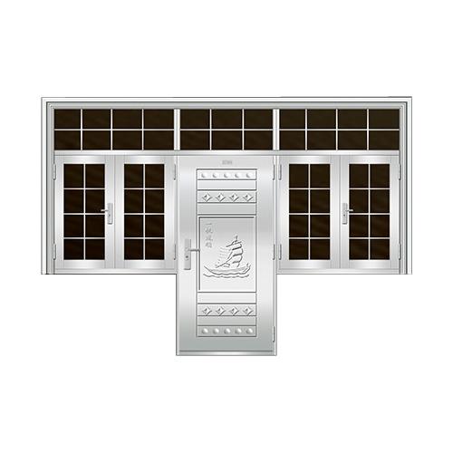 豪华不锈钢门-JT-8986(连窗门)