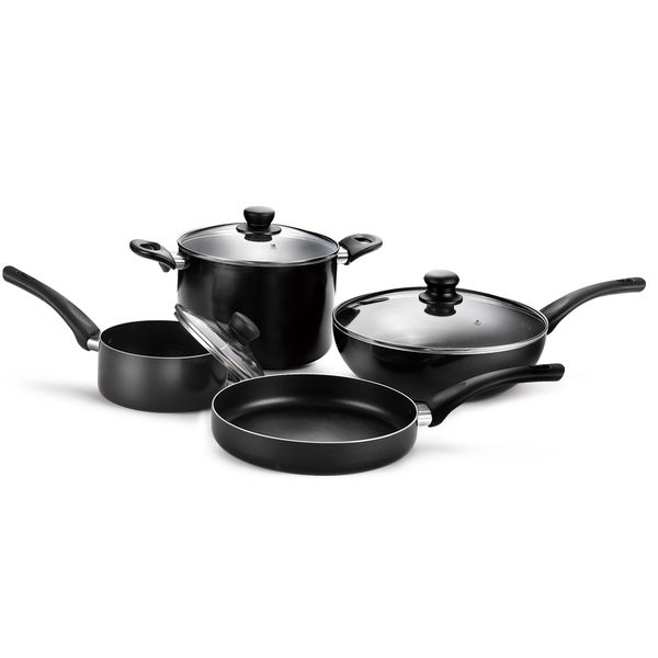 Black Staight Pressed Aluminum Cookware Set JX-PST-14