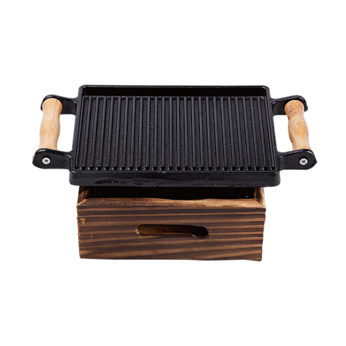 木柄韩式方盘+小木制四方炉-