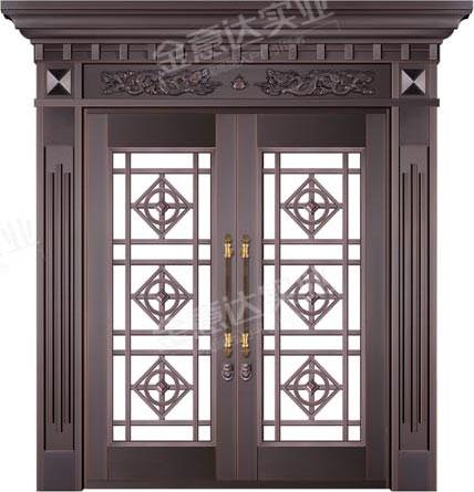 精雕铜门-JYD-T-876六福同庆