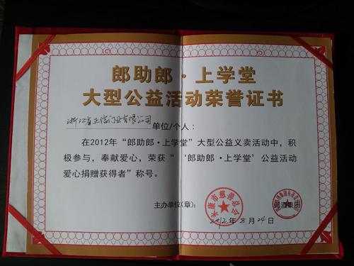 大型公益活动荣誉证书