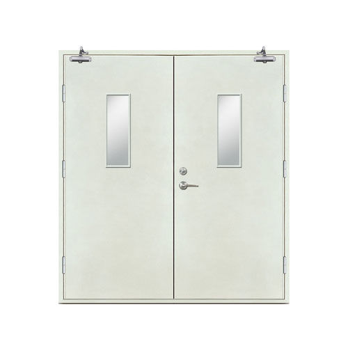 防火门-平板防火对开门(长方玻璃窗)
