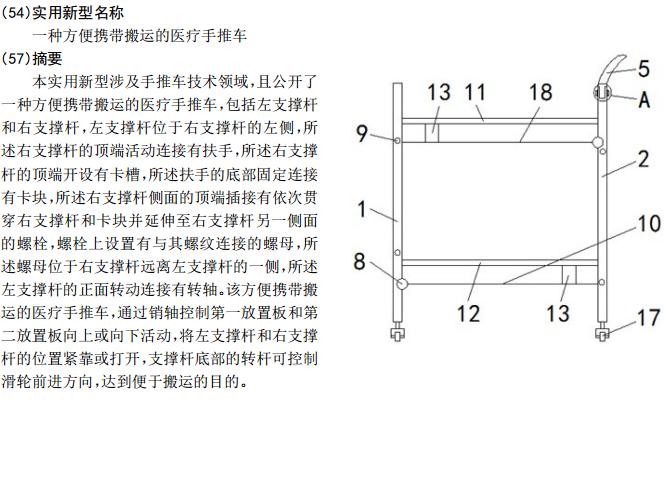 一种方便携带搬运的医疗手推车——宏创专利转让