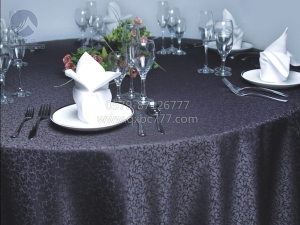 黑色碎花桌布-吉祥叶-QX112