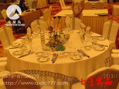 中餐宴会摆台-荷之韵|餐饮布草|酒店布草|七星布草图片