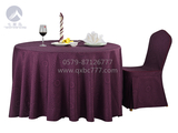 七星岛布草新款-欧式图紫红圆台布 -