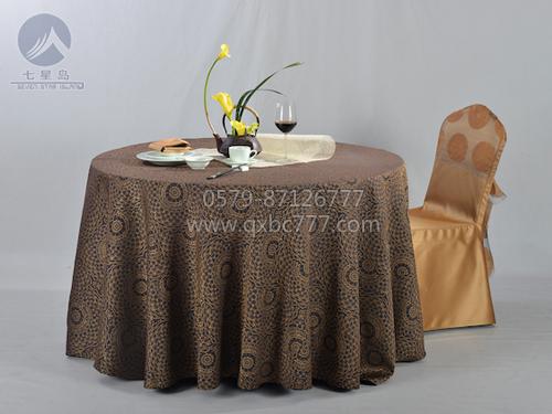 七星岛布草新款-欧式图黑加咖圆桌布-