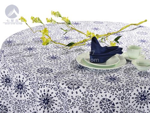 七星岛布草新款-纯朴风情白底蓝花方台盖-