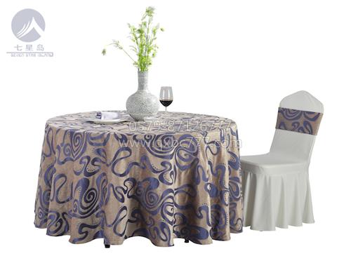 七星岛布草新款-时尚元素紫青单铺桌布-