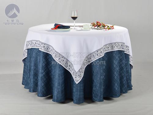 七星岛布草新款-棉绒漂白镶青花边方台布-