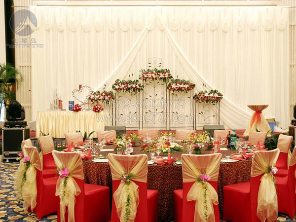 婚宴主婚桌台布&喜庆红弹力包脚椅套-