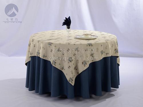 七星岛布草新款-色织小花涤棉台布-