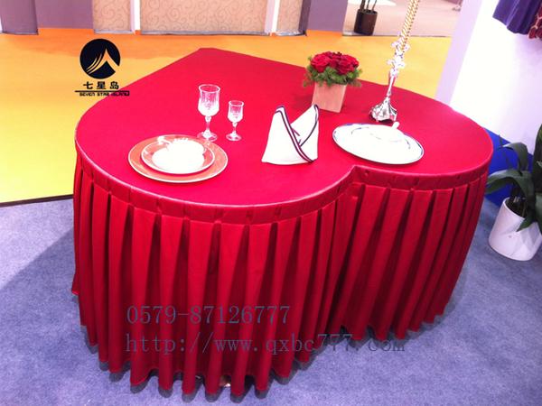 七星岛布草新款-心型桌大红桌套-