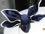 藏蓝镶边口布 -双面缎藏青包边口布