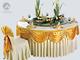 牙白桌裙金黄桌幔