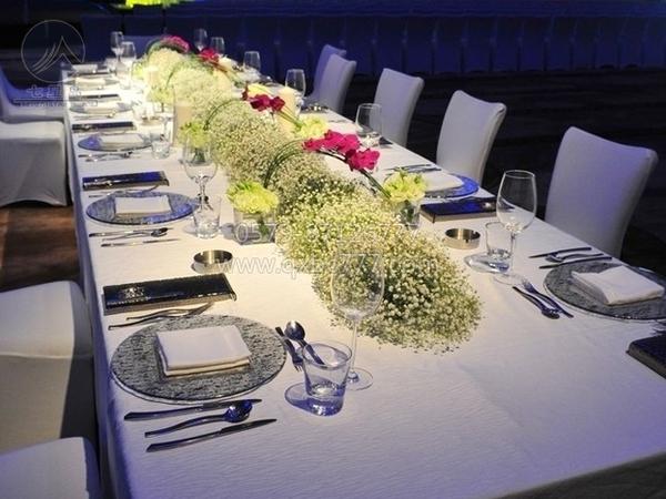 长方桌布西餐宴会布草-长条桌布置