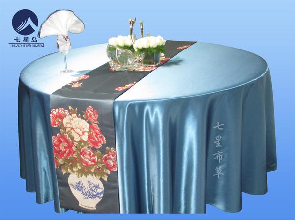 甄嬛湖蓝圆桌布-