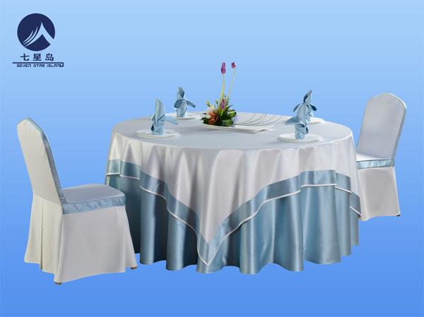 浅蓝桌布包厢桌布-
