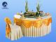 14-1牙白桌裙金黄桌幔-1