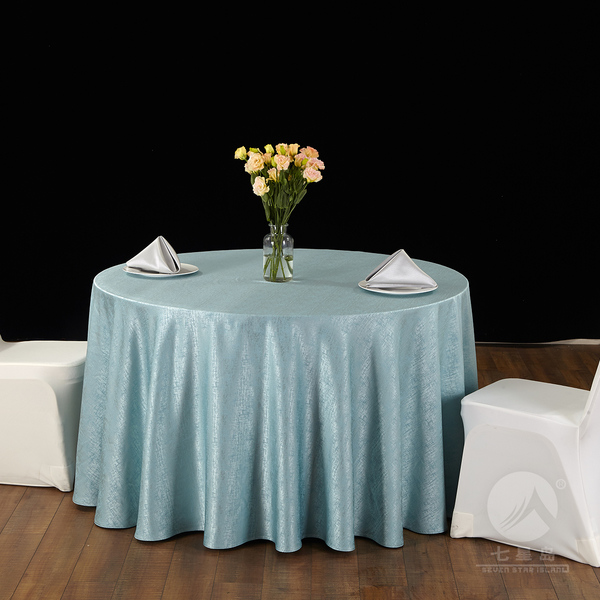 七星岛中餐布草纵横交织桌布-