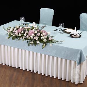 七星岛国宴布草玉兰花夫人宴长方桌布