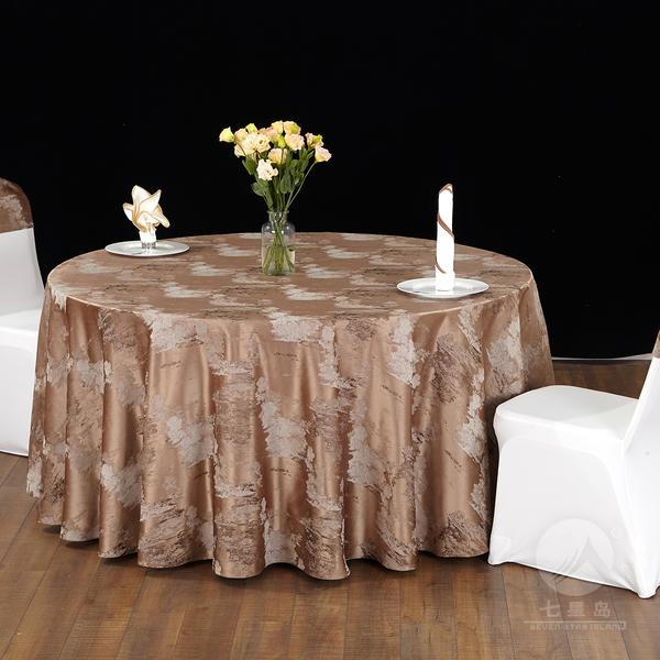 七星岛中餐布草色织水墨圆桌布-