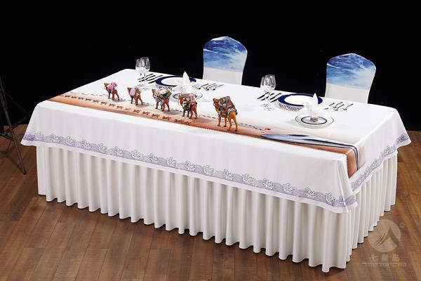 七星岛国宴布草海浪长方桌布-