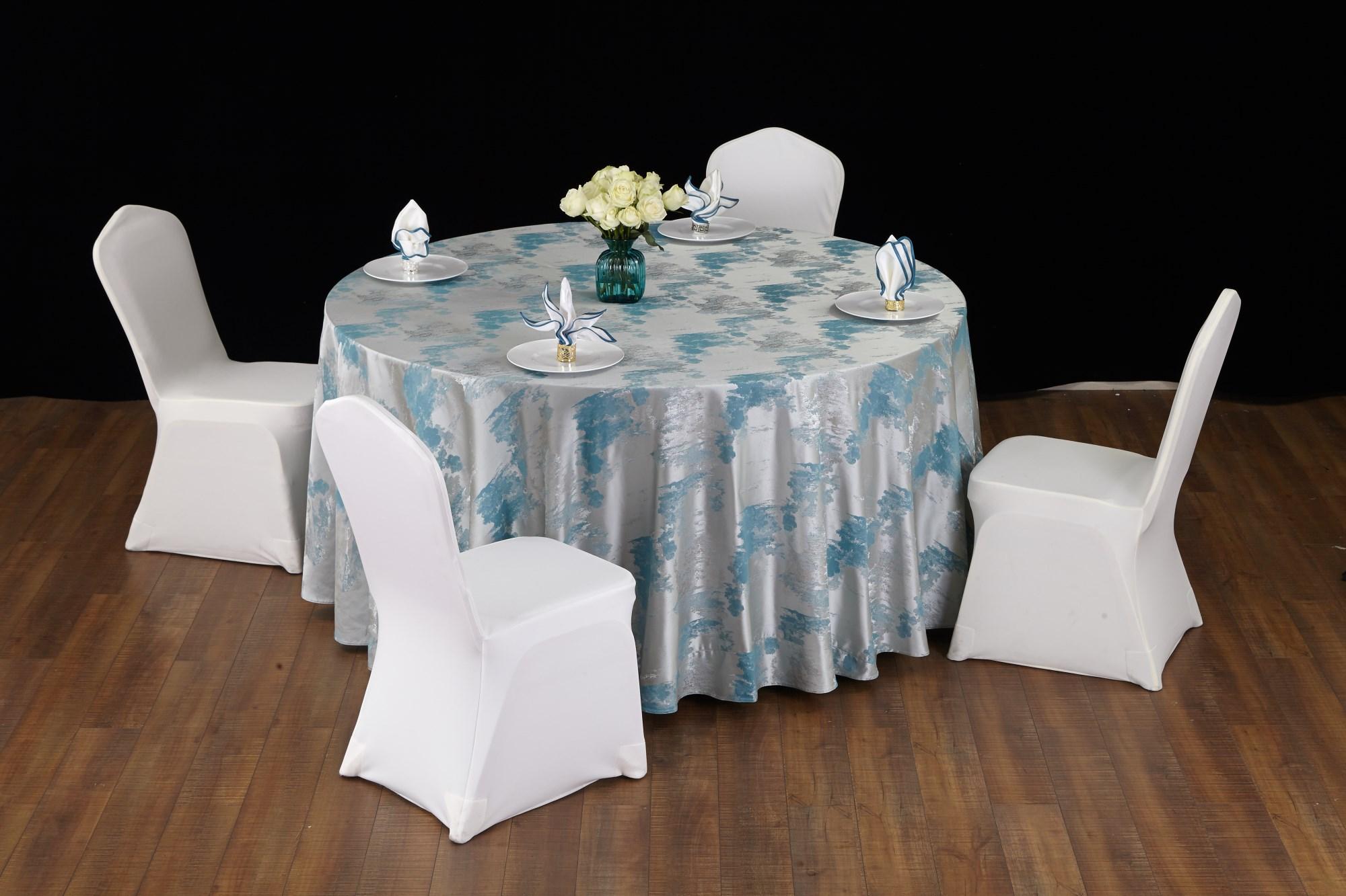 七星岛色织水墨蓝色桌布