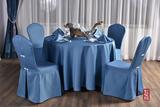 七星岛餐厅布草蓝色宴会桌布椅套口布套装 -QXTB0203