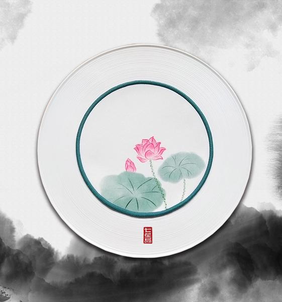 七星岛中式荷花缎面餐盘垫-荷花餐垫
