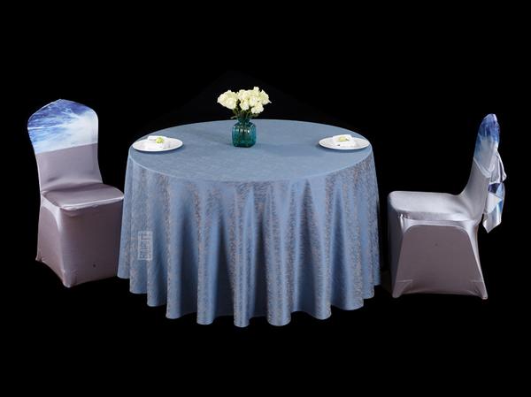 银蓝雨幕圆台布蓝台布蓝色调蓝桌布-
