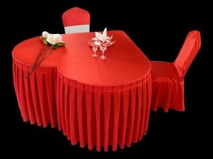 贡丝锦中国红心形桌套婚宴主桌婚礼仪式订婚宴爱心桌布