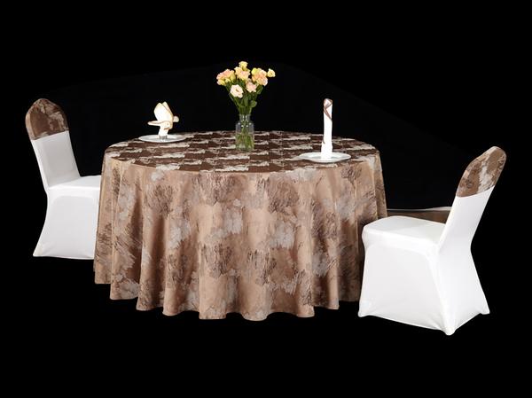 色织水墨花咖中国风桌布文化桌布焦糖色桌布-