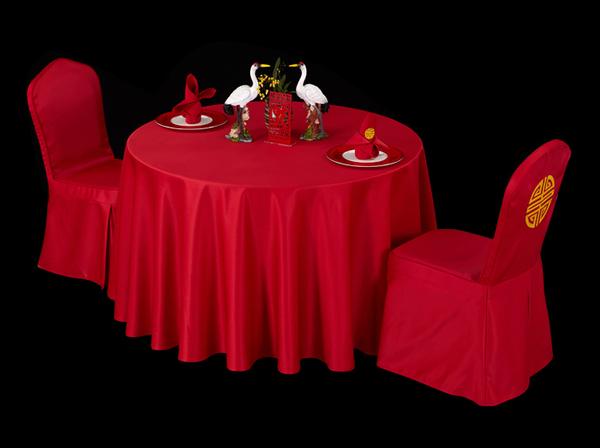 双面缎灯笼红圆台布婚宴桌布满堂红桌布-