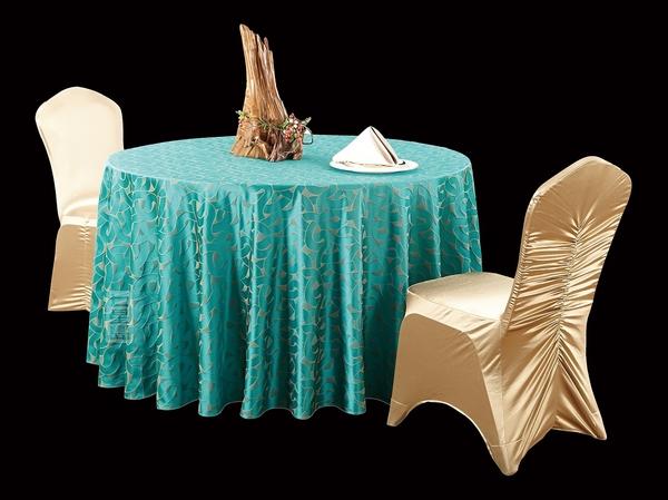 三维孔雀绿高贵台布涤棉台布高档台布西式桌布餐厅桌布-