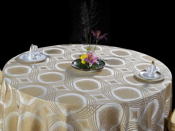 图轮浅咖啡桌布花式桌布包厢桌布宴会桌布高贵桌布-