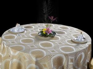 图轮浅咖啡桌布花式桌布包厢桌布宴会桌布高贵桌布