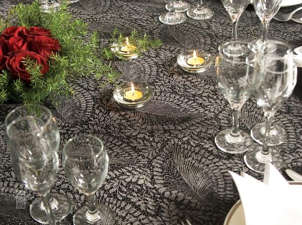 芭蕉叶黑灰大提花桌布西餐桌布镂空桌布-