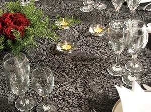 芭蕉叶黑灰大提花桌布西餐桌布镂空桌布