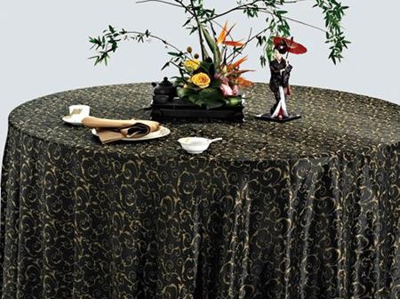 绉布色织金钩黑台布黑桌布黑金台布-